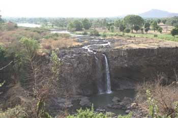 The Blue Nile waterfalls during the dry season. Bahir Dar, Ethiopia.