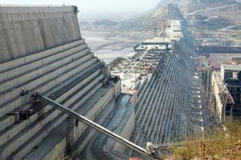 Grand Ethiopian Renaissance dam under construction. Benishangul-Gumuz Region, Ethiopia.