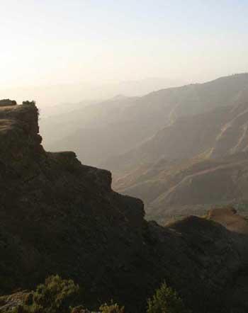 Mountain landscape at the Lasta Amhara Region. Lalibela, Ethiopia.