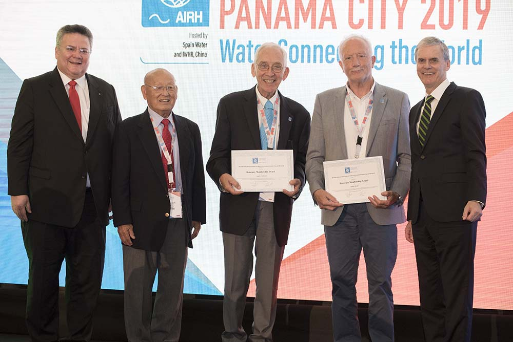 Young C. Kim, Angelos Findikakis and Arthur Mynett receive the Honorary Membership Award at the 38th IAHR World Congress in Panama.