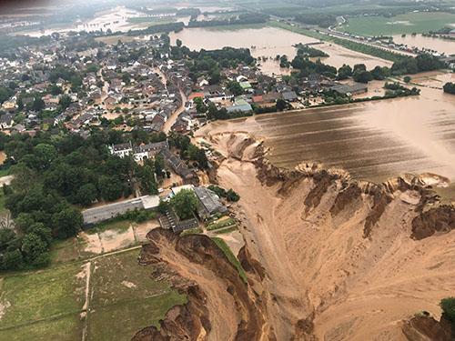 This aerial photo shows flooding in Erftstadt, Germany.Rhein-Erft District. Credits @BezRegKoeln/Twitter