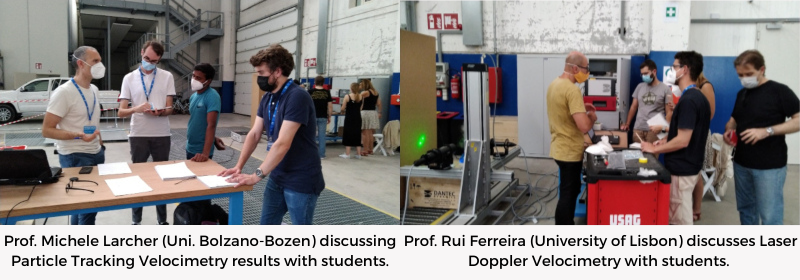 Lab session. Prof. Michele Larcher (University of Bolzano-Bozen) discussing Particle Tracking Velocimetry results with students | Lab session. Prof. Rui Ferreira (University of Lisbon) discuss Laser Doppler Velocimetry with students.